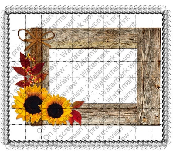Sunflower Wood Frame - Edible Cake and Cupcake Photo Frame For Birthdays and Parties! - D21052