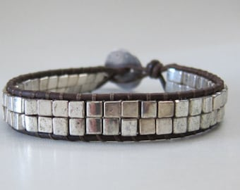 Wrap Leather Bracelet with Silver Metal Cube Beads