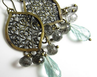 Arabesque Rain Earrings - Antiqued Brass Drops with Aqua Quartz and Black Rutilated Quartz