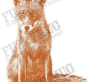 Curious Fox Art Print, Fox Art, Fox Print, Fox Illustration, Fox