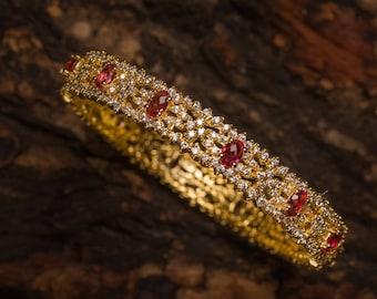 Rohini Ruby Bangles | Indian jewelry | Temple kundan gold jewelry | Bangles