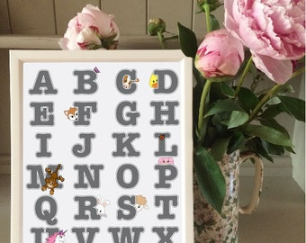 Alphabet print with animals for kids bedroom/playroom/nursery/gift (without frame)