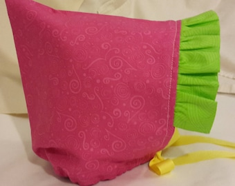 Pixie Bonnet Hot Pink with Lime Green Ruffle plus Yellow Ribbon