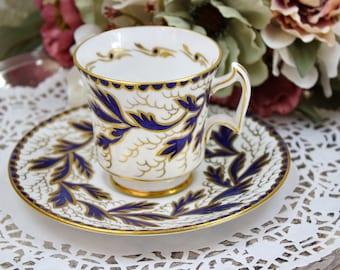 English Tea Cup and Saucer Set, Royal Chelsea Tea Cup, Cobalt Blue Enamel and Gold Gilt, Fine Bone China, Mint, c1950s, Vintage Tea Party