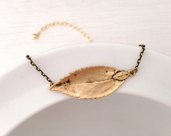 Antique leaf shaped charm bracelet