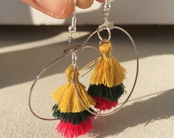 Mustard yellow tassel earrings, green hand made etrose.
