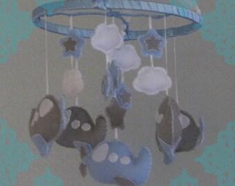 Airplane Baby Mobile, Blue, White, Grey Plane Mobile, Nursery Mobile, Crib Mobile, Boy Mobile,Boy Nursery Mobile, Felt Plane Mobile