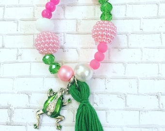 Girls Pink And Green Bracelets, Girls Frog Bracelets, Frog Charms And Pendants, Girls Charm Bracelets, Tassel Bracelets For Girls