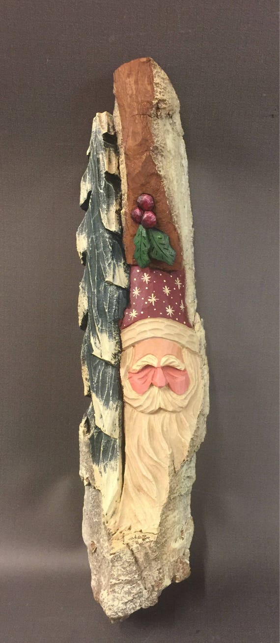 HAND CARVED original large Santa Wood Spirit  w/ holly from 100 year old Cottonwood Bark.