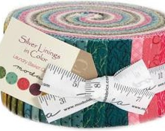 Silver linings in color 2.5'' strips Jelly Roll