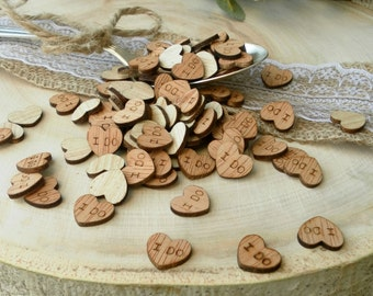 "100 Tiny ""I Do"" Hearts 0.5"" ~ Cute Little Wooden Hearts! Rustic Table Confetti ~ Summer Wedding"