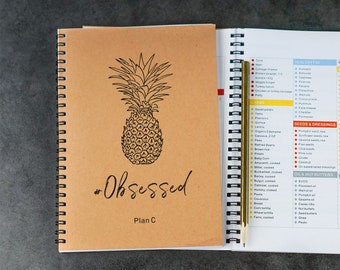 80 Day Obsession Planner Tracker 80 Day Obsessed Journal Plan A B C D E 1800 Calorie 90 pages daily REFEED DEPLETE pineapple