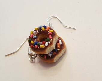 Bitten Chocolate Doughnut Dangle Earrings, Polymer Clay Food Jewelry
