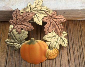 Vintage Fall leaf and Pumpkin brooch pin