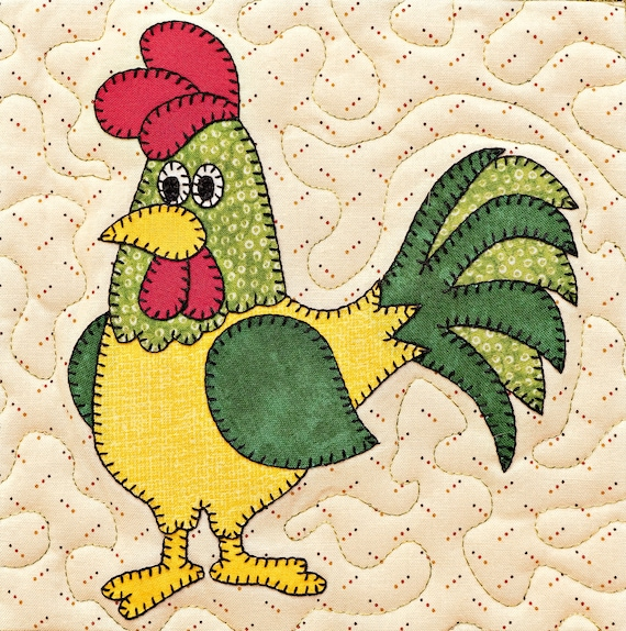 Rooster PDF Applique Pattern; Whimsical Farm Animal Dad Quilt Pattern;  Barnyard Chicken Quilt; Baby Or Childu0027s Quilt Pattern; Kitchen Decor From  ...