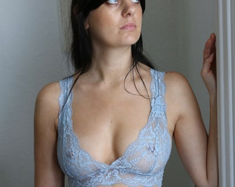 Blue Bralette Duck Egg Blue Lace Bra Floral Lace Bralette Gift For Her Lace Underwear Lace Lingerie Something Blue Girlfriend Gift Blue Bra