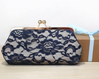 Bridal Peony Navy Lace Bridal Clutch | Bridesmaid Clutch, Mother of the Bride Groom Wedding Gift
