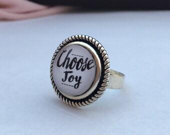 Choose joy adjustable ring