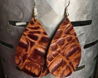Leather Earrings-Genuine Leather-Teardrop-Crocodile Print-Nickel Free Wires