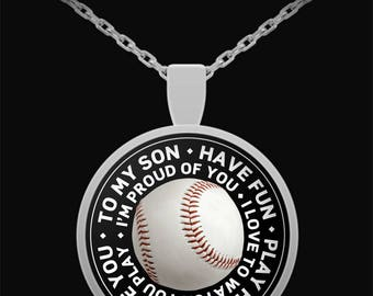 Baseball Necklace for Son, Baseball Necklace for Boys, Baseball Gift, Baseball Necklace, Baseball necklaces, Baseball Jewelry, Gift Ideas