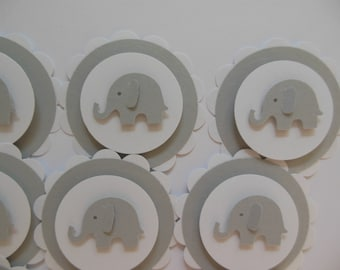Elephant Cupcake Toppers - Gray and White - Gender Neutral - Baby Shower Decorations - Child Birthday Decorations - Set of 12
