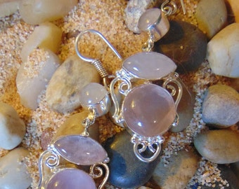 Vintage Rose Quartz and Sterling Silver Drop Earrings