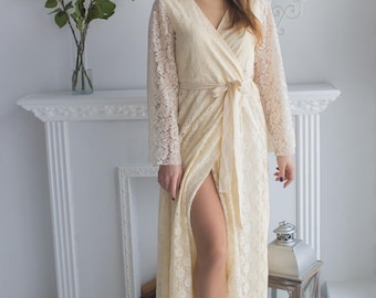 Long Train Ivory Bridal Robe from my Paris Inspirations Collection - Flowing Beauty in Ivory