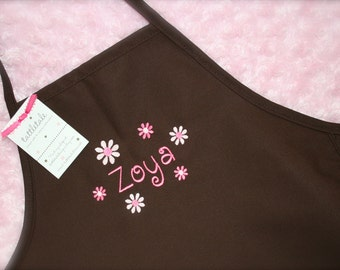 Sweet Daisy--Custom Embroidered Youth Apron--2 sizes available--Pink, Brown or Turquoise