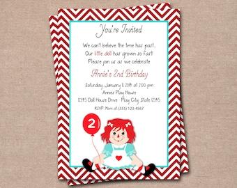 Raggedy Ann Invitation - Raggedy Ann Invite - Kids Invitation - Girls Invitation - Printable DIY - Printable Invitation - Digital Invitation