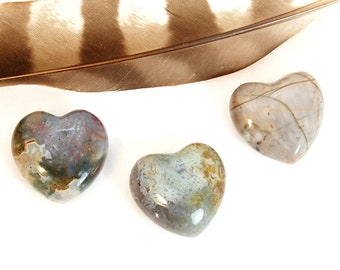 POLYCHROME JASPER Heart Stone | Polychrome JASPER Crystal | Recovery Gift, Wedding Favor, Remembrance Gift | Chakra Energy Healing Stones