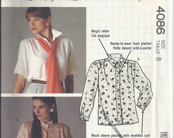 McCalls Pattern # 4086 from 198.  Misses Blouse and Jabot.  Bust 31 1/2.  Busy Woman's Pattern by Nancy Zieman UNCUT