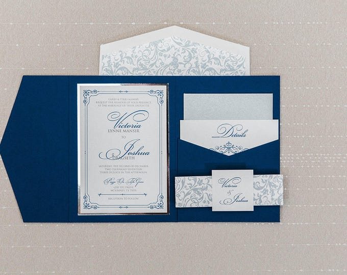 5x7 Navy and Silver Formal Classic Pocket Wedding Invitation with Details, RSVP Inserts and Return Address Printing on Envelopes