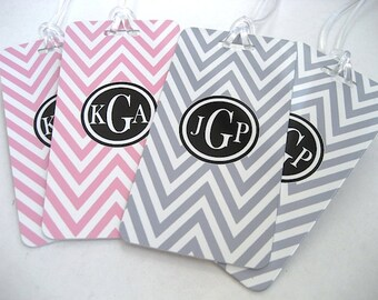 Luggage Tag - Luggage Tag 4-Pack - Mr and Mrs Luggage Tags -  His and Hers Chevron Luggage Tags-  Wedding Luggage Tag Set - Pink  and Gray