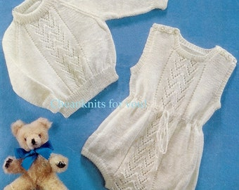 Baby Sweater / Jumper and Short Rompers in 4ply yarn for 18 - 20 ins   - Vintage Knitting pattern - PDF Instant Download HD