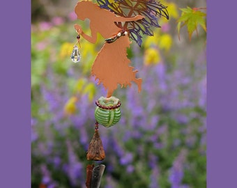 The Valerian Copper Fairy Obsidian Wind Chime with Magical Potion Bottle & Hanging Crystal Sun Catcher in your choice of bottle color
