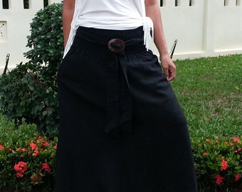 Maxi Skirt With Coconut Buckle * Elastic Waist * Long Skirts For Women * Hippie Skirt * Bohemian Skirt * Boho Skirt * Cotton Skirt *SC-black
