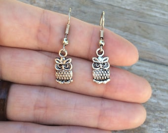 Simple Owl Earrings, Owl Earrings, Charm Earrings, Halloween Earrings