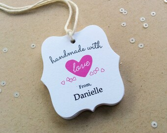 Handmade With Love Tags - Customized product hang tags - Holiday Made With Love Packaging tags - Food Gift Tags (TM-05)