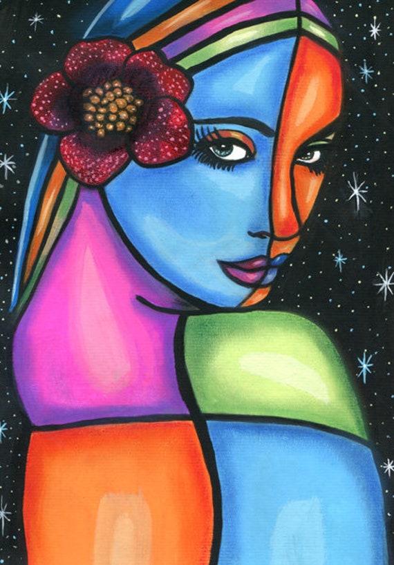 "Star Child Woman Abstract art painting original acrylics original paintings abstract painting colorful 8 1/2"" x 12"" Modern art"