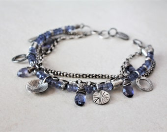 Sterling silver boho bracelet, multi strand gemstone bracelet, blue iolite bracelet, oxidized silver charm bracelet, bohemian jewelry
