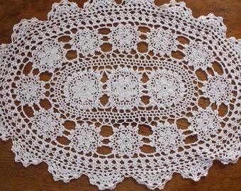 Vintage Crochet Doily ~ White Cotton Handmade ~ Repurpose Doilies Cottage Decor