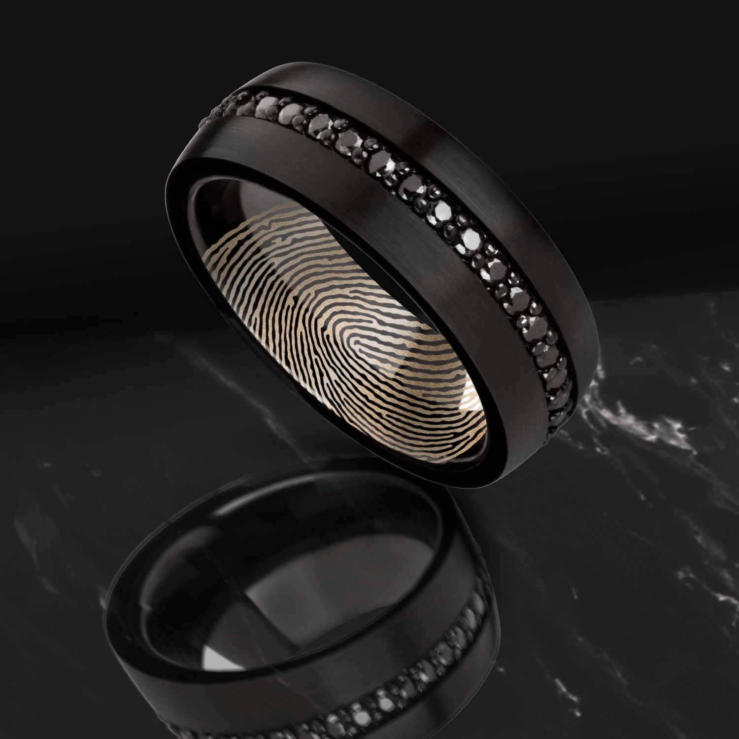 actual rings domed wedding brushed black listing ring fingerprint il zoom fullxfull engraved tungsten