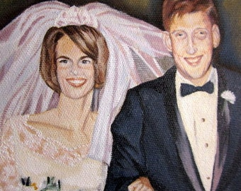 Original Custom Double Portrait Painting from your photo, bride and groom, oil painting on canvas, custom wedding gift, newlywed couple