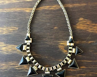 Vtg 80s 90s Geometric Gold and Black Necklace Goth New Wave Necklace Choker Mesh Vintage Statement Costume Jewelry eighties nineties