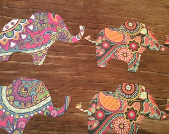 Paisley paper elephant cut outs punch outs