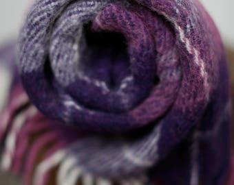 Vintage purple white plaid wool blanket w fringe - vintage thick wool 60's 70's throw blanket