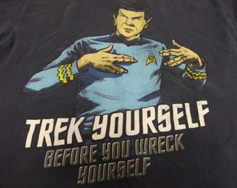 Vintage Star Trek Tee Shirt - T-Shirt - Trek Yourself Before You Wreck Yourself - Mr. Spock on Front - XL