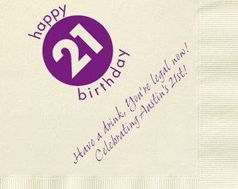 100 Personalized Napkins Beverage & Luncheon Size Available! Custom Monogram 21st Birthday 21 Years Personalized Birthday Party Napkins