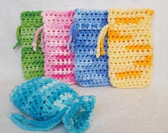 Crochet cotton Soap saver Gift for her Eco friendly Spa gift set Bar soap holder Sponge soap Wash cloth Stocking stuffers Bath Soap bag