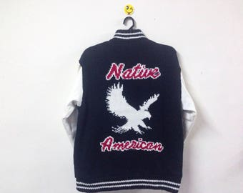 Rare!!! Native American Jacket Full Zipper Eagle Size Large